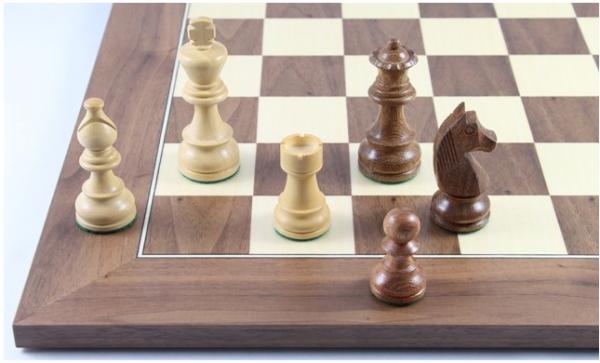 Schach-Set No. 2/13 aus Akazienholz und Buchsbaum, Königshöhe 85 mm