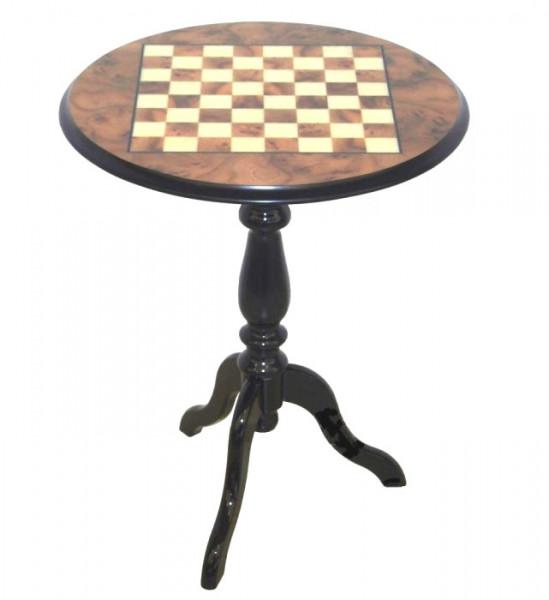 Schachtisch rund mit Bruyere Holz Platte, mit feiner Intarsienarbeit