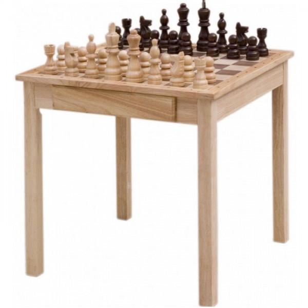 Schachtisch aus Holz mit Schachfiguren und zwei Schubladen, 68x68 cm