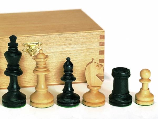 Schachfiguren Bohemia Staunton schwarz, Königshöhe 96mm, Turniergröße