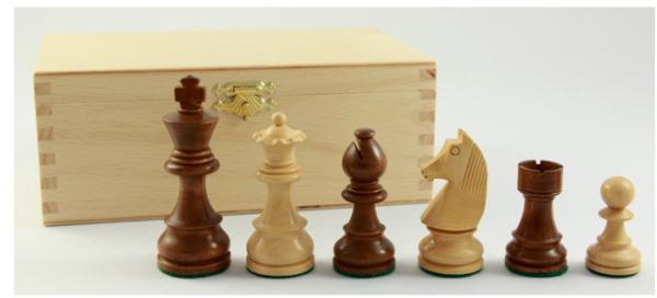 Schachfiguren kaufen: Königshöhe: 63 mm, Buche-Kassette, braun
