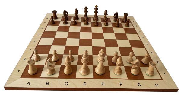 Schachset Staunton Schachfiguren Königshöhe 95 mm, mit Turnier Schachbrett, Intarsie