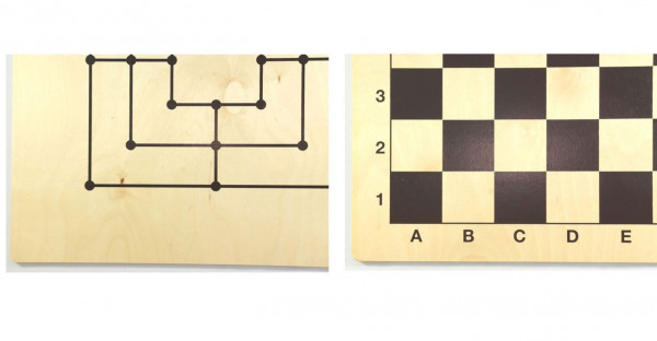 Mühlebrett aus Holz mit Dame- und Mühle Spielsteine, 29x29 cm