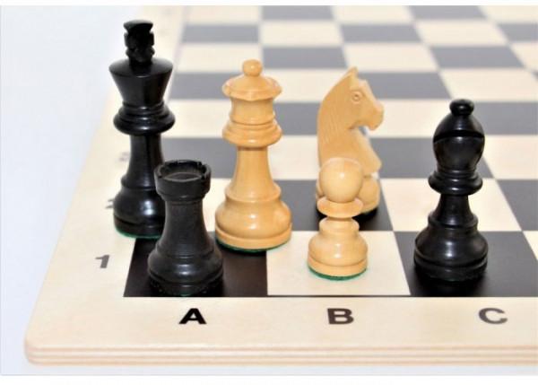 Schach-Set Buchsbaum schwarz und natur 70 mm, mit Schachbrett aus Birkenholz