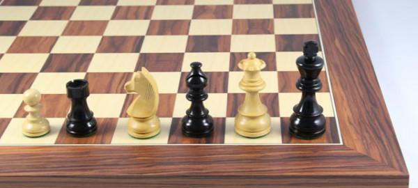 Schachspiel Mongoy Staunton, Schachfiguren 76mm mit Schachbrett 45x45cm