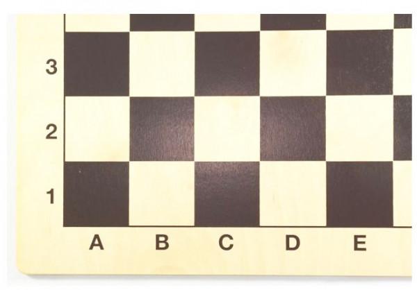 Schachbrett aus Birkenholz, schwarz mit Zahlen und Buchstaben, 48x48cm
