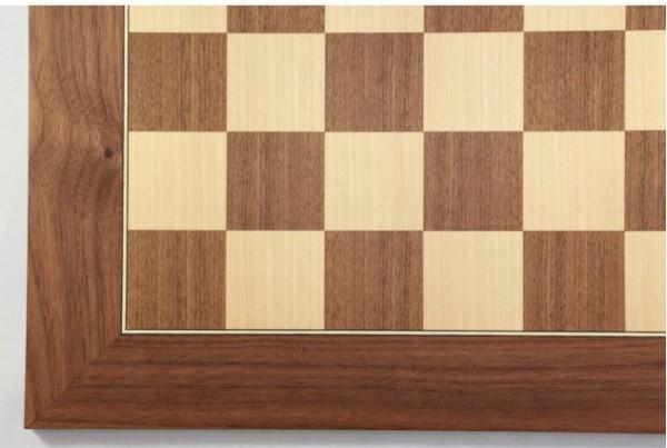Schachbrett Nußbaum und Ahorn, Intarsie, matt lackiert, Feldgröße 60 mm, Bild