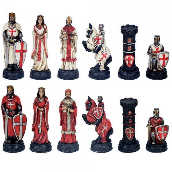Schachfiguren set Mittelalter Kreuzritter, Weiß und Rot