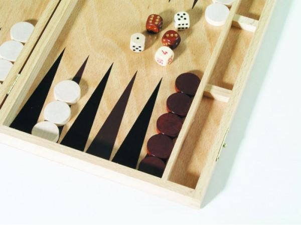 Backgammon aus Buche Natur Holz, 33x23 cm