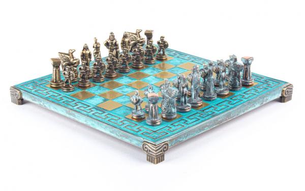 Spartan Schachset Antik-Stil Schachfiguren mit Schachbrett, in Geschenkbox