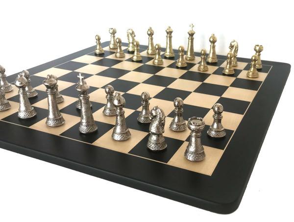 Staunton Schachfiguren Königshöhe 97 mm, mit Schachbrett aus Elsbeere und Ahorn Holz