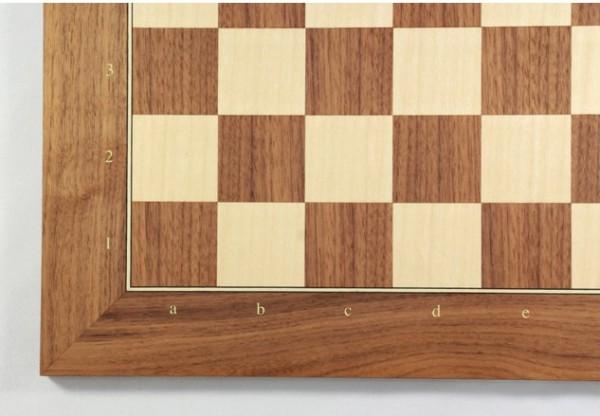 Schachbrett Nußbaum und Ahorn, Intarsie, matt lackiert, Feldgröße 40 mm, mit Zahlen und Buchstaben
