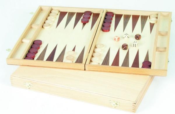 Backgammon aus Buche und Nussbaum Holz, 28x17 cm