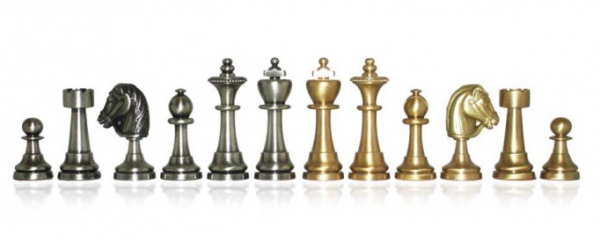 Schachfiguren Linux - Staunton Form, massiv Messing, Königshöhe 70 mm