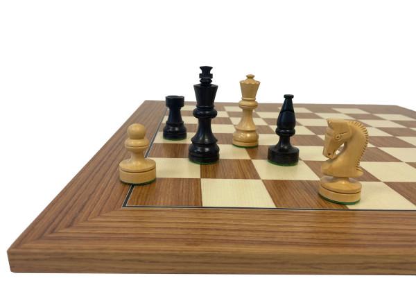 Schachset in Ebenholz Schachfiguren Königshöhe 85 mm, Schachbrett Intarsie 50x50 cm