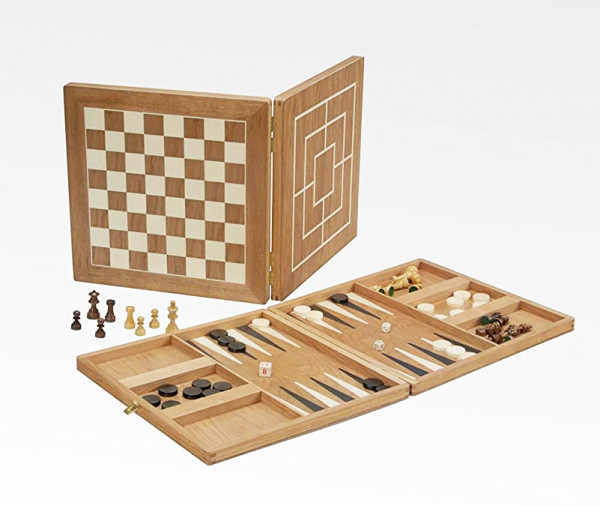 Spielesammlung Koffer in Kirsche, groß mit Schach, Dame, Mühle, Backgammon